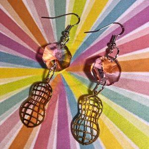 Vintage peanut charm vintage crystal earrings OOAK